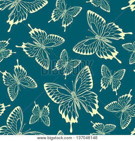 seamless pattern from butterflies. Vector butterfly silhouette