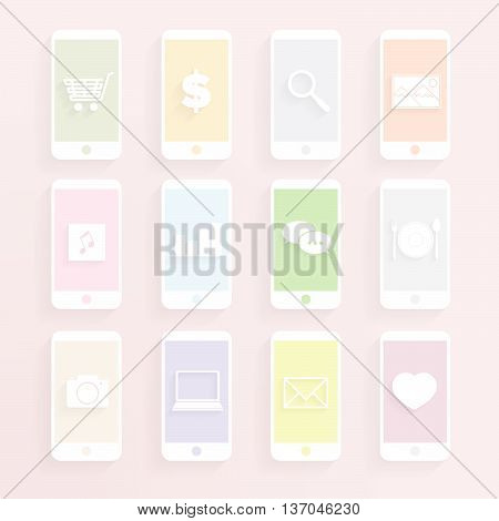 mobile function icon set in pastel style