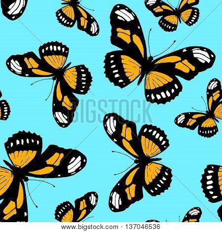seamless pattern made from butterfly Danaus plexippus. Vector butterfly Monarch