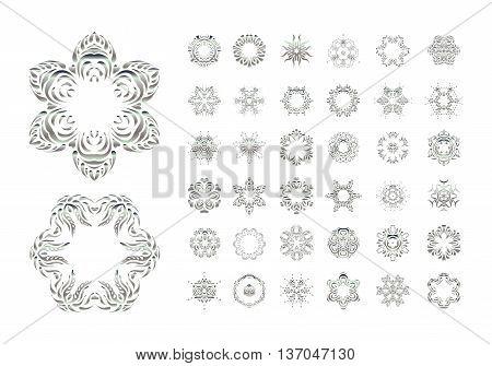 Set Of  Vector Arabic Mandala On White Background