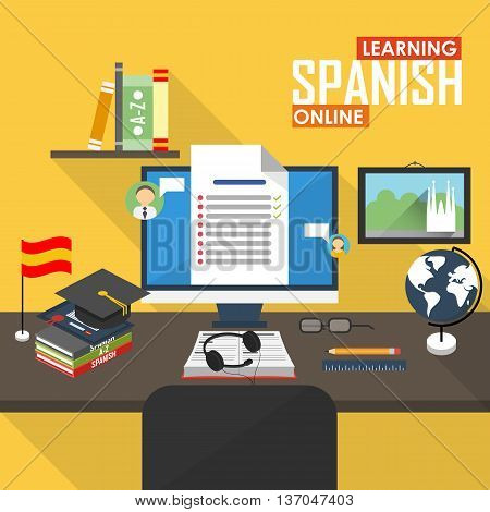 Flat design vector illustration concept of learning Spanish language online, distance education and online training courses. Spanish online.