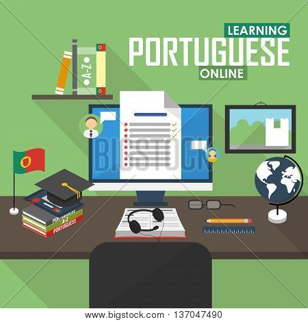 Flat design vector illustration concept of learning Portuguese language online, distance education and online training courses. Portuguese online.