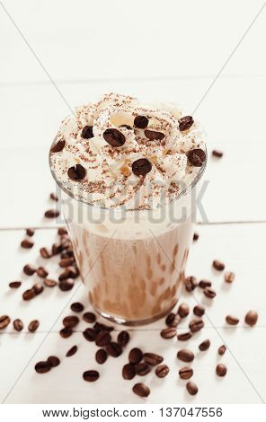 Drink. Coffee frappe on the table