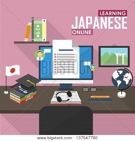 Flat design vector illustration concept of learning Japanese language online, distance education and online training courses. Japanese online.