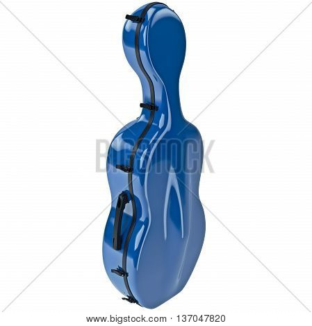Plastic case cello with black metal latch. 3D graphic