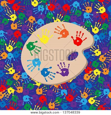Seamless Background With Palette And Handprints