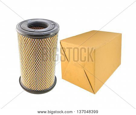 Air Filter Car And Paper Box Isolated On White