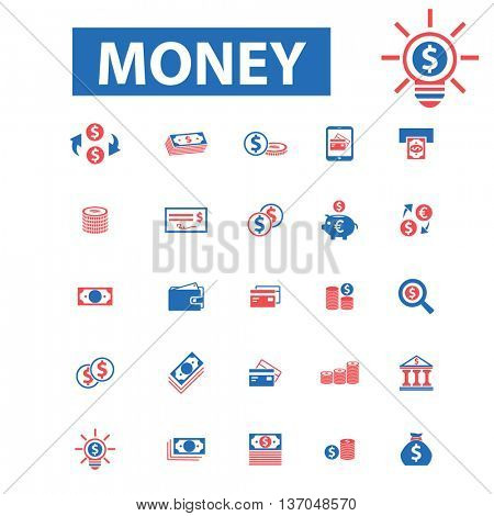 Money, payment, cash, bill, insurance, finance, bank, card, transfer, atm, savings, investment, credit, profit, currency icons, signs vector concept set for  mobile, website, application