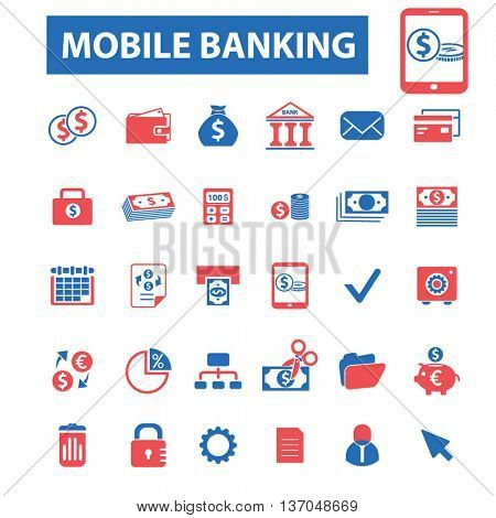 mobile banking, money payment, cash, bill, insurance, finance, bank, card, transfer, atm, savings, investment, credit, profit, currency icons, signs vector concept set for  mobile, application icons