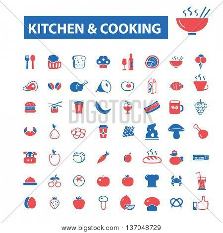 kitchen cooking concept icons: hotel services, menu, dining, pizza, bill, beer, cafe, fast food, cafeteria, beverage, hot dog, bbq, pub, meat meal, drinks. Vector illustration