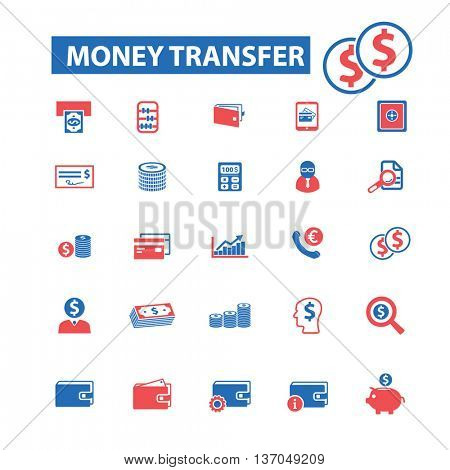 money transfer, payment, cash, bill, insurance, finance, bank, card, transfer, atm, savings, investment, credit, profit, currency icons, signs vector concept set for  mobile, application icons