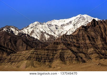 Spectacular mountain scenery Himalaya Range and snow background.