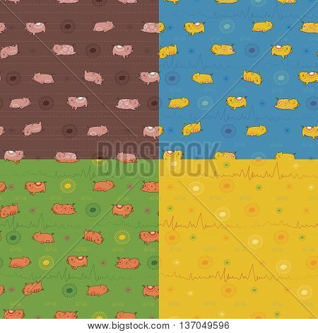 Set of seamless patterns with funny pigs. Indian decor. Brown pattern with pink pigs. Blue pattern with yellow pigs. Green pattern with red pigs. Vector Illustration. EPS 8