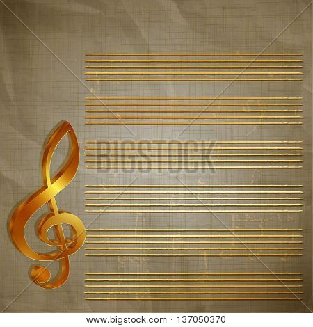 Vector illustration of old paper musical background with gold lettering treble clef and the stave.