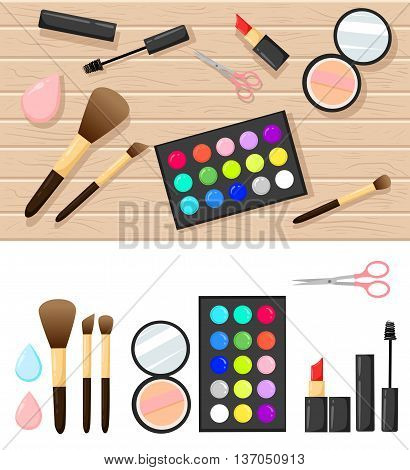 Flat Illustration Of Cosmetic Elements. Vector Design Of Make Up Procedure. Lipstick Shadow Conceale