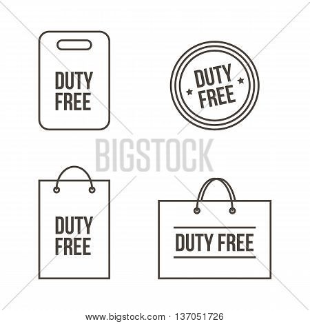 Outlined duty free shopping bags, tags, labels set, collection isolated on white background.