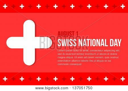 Swiss national day abstract flat design red background template.