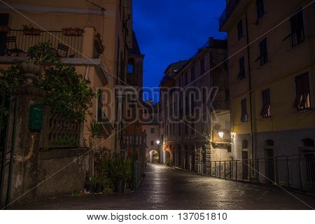 Night Street Of Riomaggiore Village