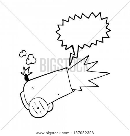 freehand drawn speech bubble cartoon cannon firing