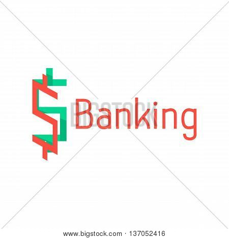 banking logotype with red and green abstract sign. concept of corporate credit, e-commerce, deposit, abundance, economy, usd mark, finance sector. flat style modern design eps10 vector illustration