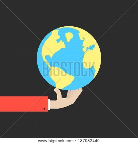 hand holding blue and yellow earth. concept of happy earth day, april 22, eco friendly, help ecology, future life, natural. isolated on black background. flat style modern design vector illustration
