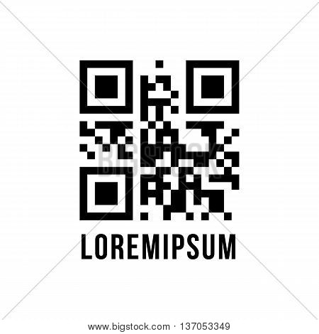 qr code with encrypted text lorem ipsum. concept of pixelart, labyrinth or maze, scanning, sale, checkout. isolated on white background. flat style modern logo design editable vector illustration