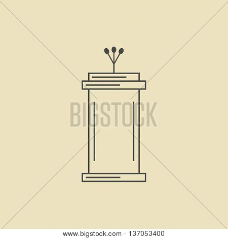 tribune outline icon isolated on dark yellow background. concept of voting, announcement, leadership, interview, journalism, politics, president, narrator. flat style modern design vector illustration