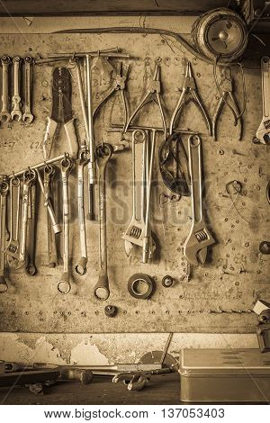 Old Tool Shelf Against A Wall Vintage Style