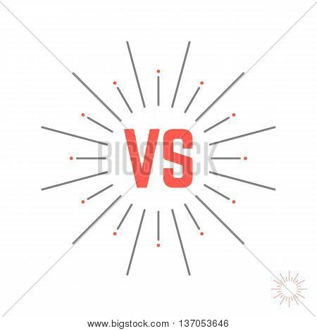 vintage versus emblem like struggle. concept of confrontation retro mark, opposition, together, standoff, final fighting. isolated on white background. style modern logotype design vector illustration