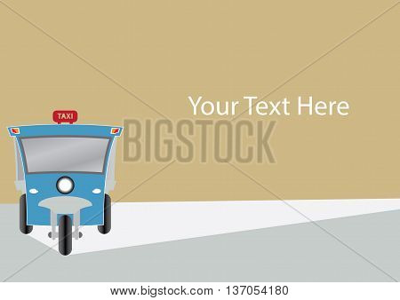 Modern design of Three wheel Motor or Tuktuk with space for your text