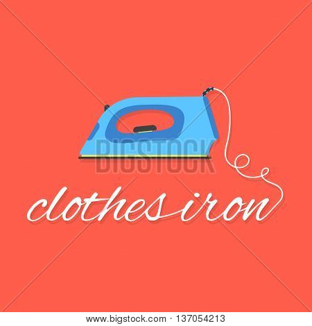 clothes iron lettering on red background. concept of ironing, drudgery, electricity, homework, laundry room, dry cleaning of linen, housewife. flat style modern logo design eps10 vector illustration