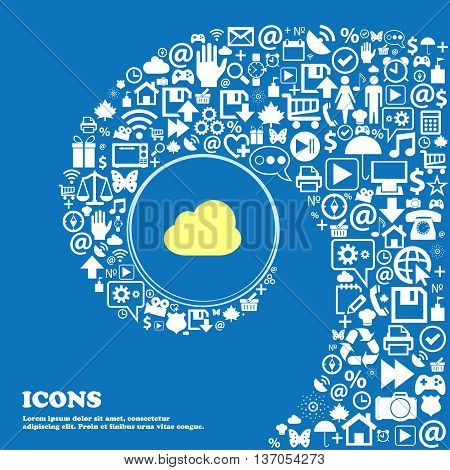 Cloud Sign Symbol. Nice Set Of Beautiful Icons Twisted Spiral Into The Center Of One Large Icon. Vec