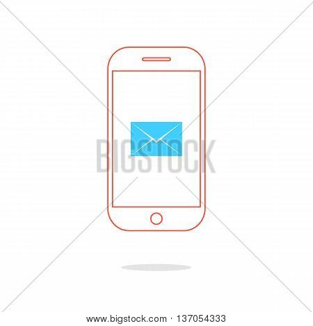 red outline smartphone with blue envelope and shadow. concept of counter notification, messaging, feedback, postal service, texting talking, ui, spam. flat style modern design vector illustration