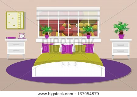 Bedroom interior vector illustration, lounge, bed , bedside table, window, clock