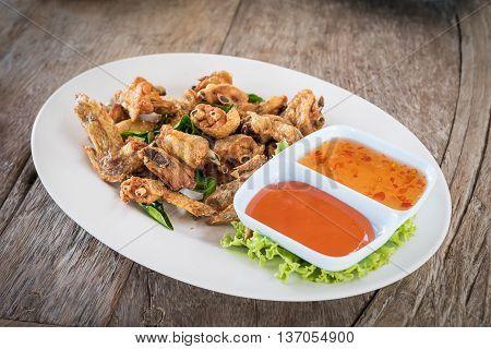 Top View Deep Fried Chicken Wings