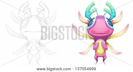 Adorable Dragonfly Baby Deer Creature. Coloring Book, Outline Sketch, Monster Mascot Character Design isolated on White Background