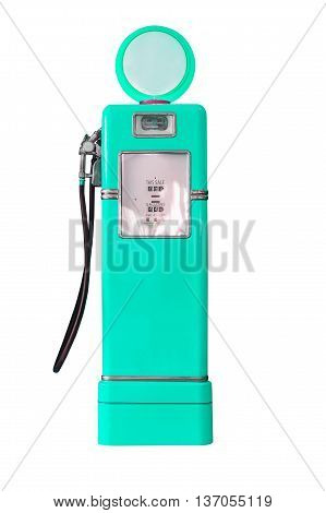 Vintage Green Fuel Pump On White