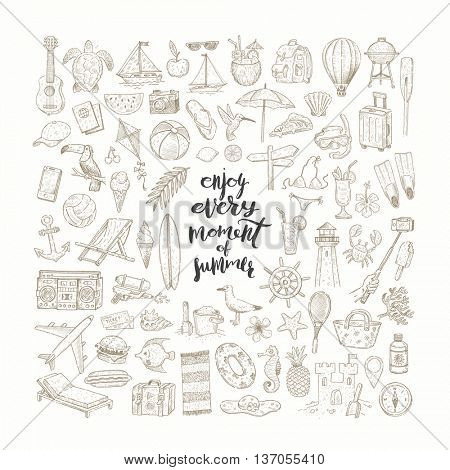 Vector set of hand drawn summer vacation, beach and travel items and objects.