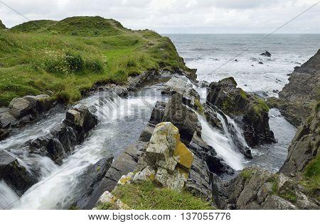 Waterfall at Welcombe Mouth Hartland Peninsula North Devon Coast