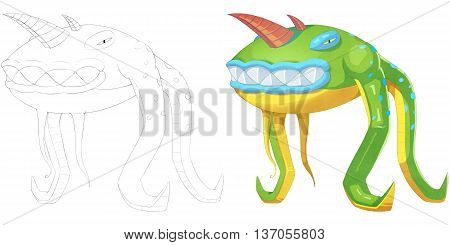 Frog Snake Octopus and Horn Creature. Coloring Book, Outline Sketch, Monster Mascot Character Design isolated on White Background
