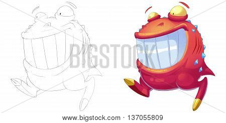 Happy Red Ball Big Mouth Creature. Coloring Book, Outline Sketch, Monster Mascot Character Design isolated on White Background