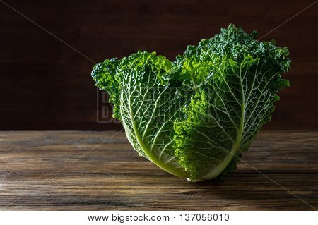 Single head of Savoy cabbage