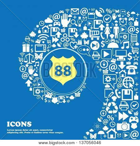 Route 88 Highway Icon Sign . Nice Set Of Beautiful Icons Twisted Spiral Into The Center Of One Large