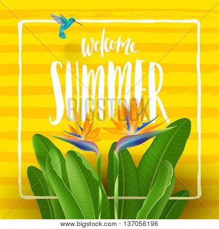 Summer holidays and tropical vacation vector greeting design. Tropical flowers, hummingbird and handwritten calligraphy on a yellow striped background.