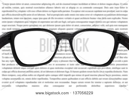Glasses with blurred vocabulary background, with white copy space on sight