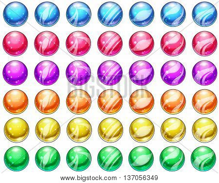 Beautiful Marble and Glass Balls Set. Video Game Assets, Objects, Pieces Illustration isolated on White Background