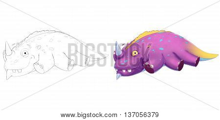 Sleeping Dinosaur Creature. Coloring Book, Outline Sketch, Animal Monster Mascot Character Design isolated on White Background
