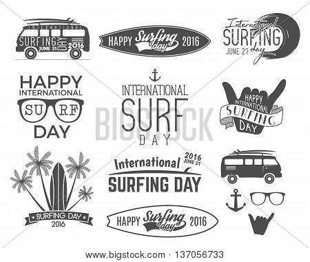 Summer surfing day graphic elements. Vacation typography emblems set. Surfer party with surf symbols - shaka sign, rv style car, board graphic, palms. Best for web design or print on t-shirt.