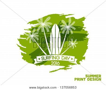 Surfing day label graphic elements. Vacation typography emblem on watercolor ink splash. Surfer party badge with surf symbols - surfboard. Best for web design or tee design print, t-shirt.