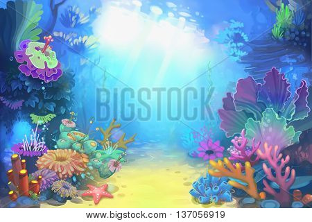 Mysterious and Peaceful Undersea World. Video Game's Digital CG Artwork, Concept Illustration, Realistic Cartoon Style Background